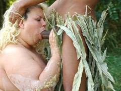 Fat Older Babe Swallowing a Cock