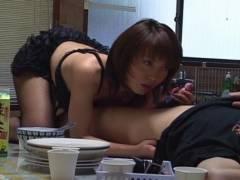 Sexy Mira Sugihara kitchen fellatio