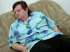 Chunky Older Woman Masturbating on the Couch