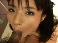 Hot Asian girl goes down on man's dick before getting cunt stuffed